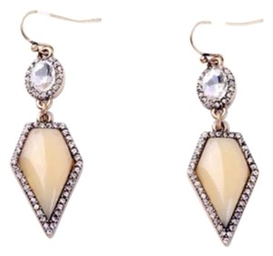 Gold Tone Pave Crystal Opal Drop Earrings