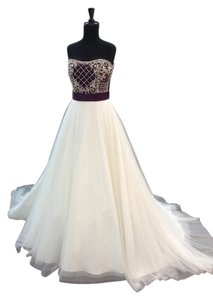 Alfred Angelo Ivory/Grape Satin/Sparkle Tulle 890 Traditional Wedding Dress Size 10 (M)