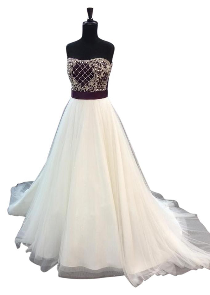 Alfred Angelo Ivory/Grape Satin/Sparkle Tulle 890 Traditional ...