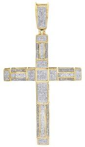 10k Yellow Gold Genuine Diamond Cross Pendant 3 Mens Domed Pave Charm 1 Ct.