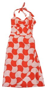 Trina Turk Orange White Print Cotton Dress