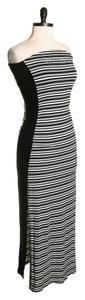 black & white Maxi Dress by bebe Striped Maxi Rhinestones Strapless