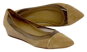 Donald J. Pliner Tan Suede Plastic Low Wedges