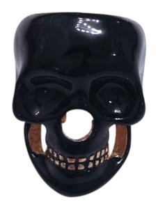 Urban Outfitters Black and Gold Skull Ring