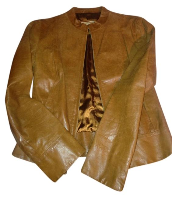 Item - Brown Real Leather Moto Jacket Size 8 (M)