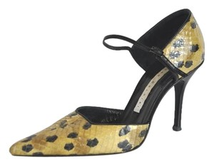 Diego Dolcini Snakeskin Leopard Print Pointed Toe Multicolor Mules