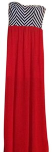 red with a black & white top Maxi Dress by Papaya
