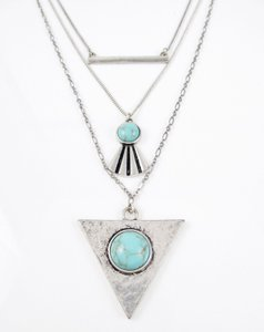 Lucky Brand Turquoise Geometric 3-in-1 Layer Necklace