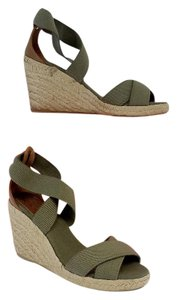 Tory Burch Green Brown Espadrille Wedges