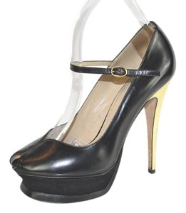 Saint Laurent Peep Toe Platform Black Pumps