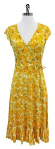 Diane von Furstenberg Yellow Green Botanical Silk Dress