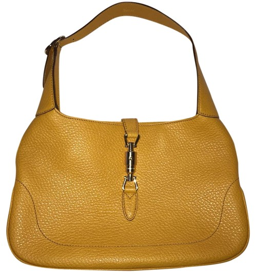 1d0aabced926 Gucci Pebbled Leather Gold Italy Jackie Shoulder Bag Image 0