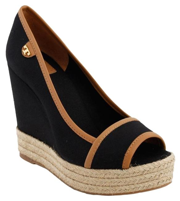 Tory Burch Black Majorca Canvas and Leather Wedges Size US 8.5 Regular (M, B) Tory Burch Black Majorca Canvas and Leather Wedges Size US 8.5 Regular (M, B) Image 1