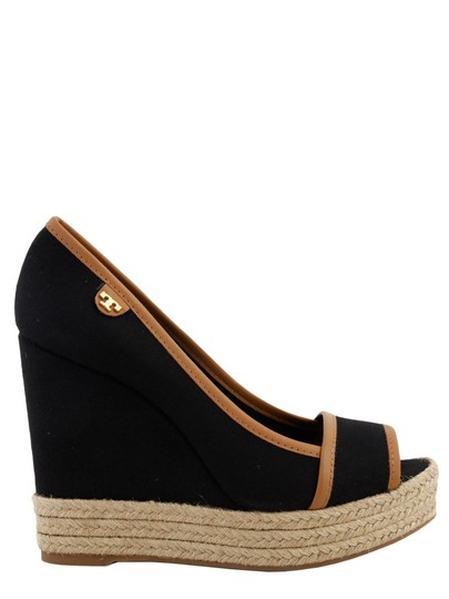 f9f284239feaad Tory Burch Black Majorca Canvas and Leather Wedges Size US 8.5 ...