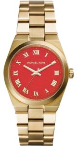 Michael Kors MK5936 Michael Kors Women's Gold Tone Analog Watch With Orange Dial