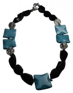 Unknown faux turquoise w/black and crystal beads necklace
