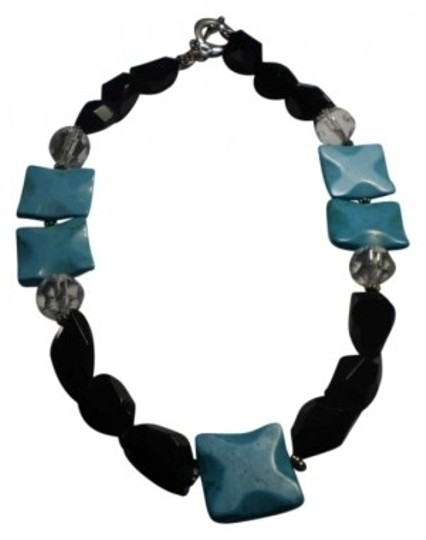 Preload https://item1.tradesy.com/images/faux-turquoise-wblack-and-crystal-beads-necklace-166275-0-0.jpg?width=440&height=440