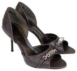 Gucci Leather Open Toe Chocolate Pumps