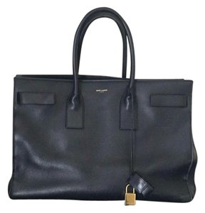 Saint Laurent Leather Sac De Jour Tote in Navy