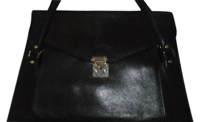 Item - Briefcase 16x12x1.5 Inches Black Leather Messenger Bag