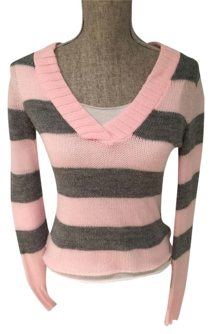 Preload https://item5.tradesy.com/images/pinkgray-and-stripe-layered-small-sweaterpullover-size-6-s-1662774-0-0.jpg?width=400&height=650