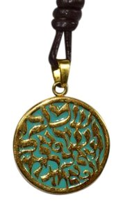 OHR SHEMA SHEMA NECKLACE GOLD PLATED WITH TURQUOISE BACK LEATHER STRAP ON SALE