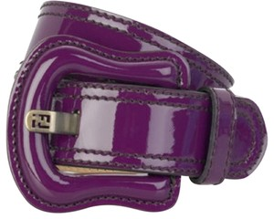 Fendi Purple Large Patent Buckle Belt