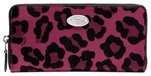 Coach NWT Coach ACCORDION ZIP WALLET IN OCELOT PRINT COATED CANVAS, F53414 Pink