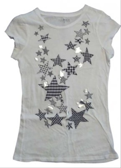 Miley Cyrus & Max Azria Stars Plain Fitted T Shirt Black, White and Silver