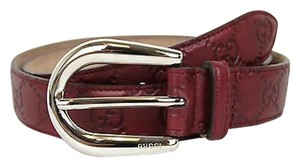 Gucci Gucci Guccissima Leather Belt Round Buckle 95/38 Burgundy 285464 6226