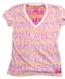 Billabong V Neck Vee Neck Bright Tye Dye Tie Sleeve T Shirt Orange, Yellow and Red