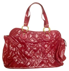 Maurizio Taiuti Quilted Patent Leather Geniune Leather Italian Tote in Red