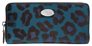 Coach Coach Ocelot Print Accordion Zip Around Wallet F 53414 NWT
