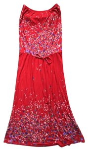 Mixie short dress Red with violet flower print Summery Strapless Shelf Bra on Tradesy