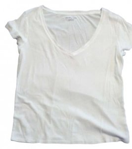 New York & Company Plain Vee Neck V Neck T Shirt White