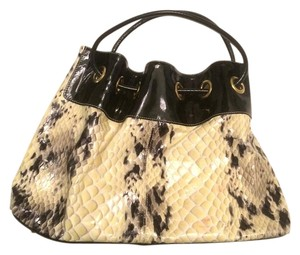 Roberta Patent Leather Gandolfi Tote in Black and Cream Snakeskin