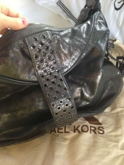 Michael Kors Slate Metal Trendy Big Hobo Bag