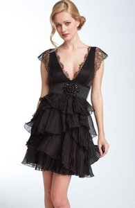 BCBGMAXAZRIA Silk Lace Organza Beaded Belted Party Dress