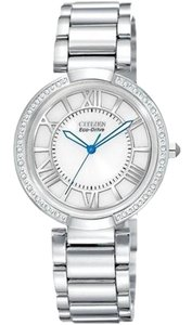 Citizen Ladies Watch DOrsay Stainless Steel Case and Bracelet White Dial Silver/White watches OS