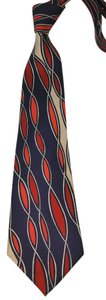 Lanvin LANVIN RED BLUE TAN PRINTED SILK TIE