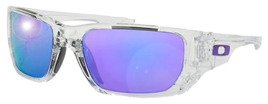 Oakley Oakley Rectangular Polished Clear / Violet Iridium & Black OO9194-03 Sunglasses