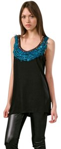 Diane von Furstenberg Silk Feather Accented Embellished Top Black