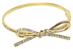 Kate Spade Kate Spade New York Bracelet Gold-Tone Pave Skinny Mini Bow Bangle Bracelet