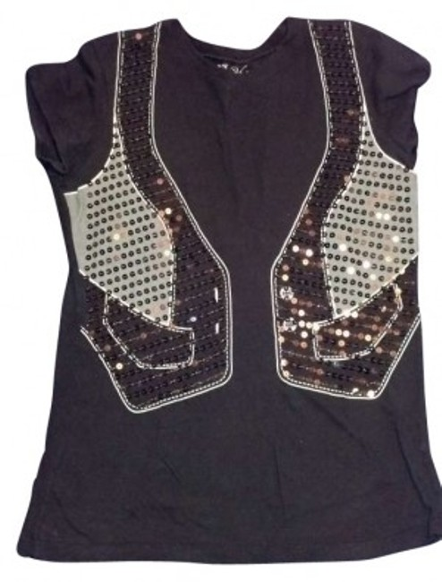 Preload https://item2.tradesy.com/images/lol-vintage-black-gray-and-white-sequin-cotton-vest-tee-shirt-size-16-xl-plus-0x-166296-0-0.jpg?width=400&height=650