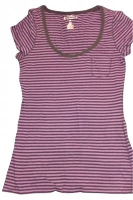 Maurices Round Neck Stripes Fitted T Shirt Purple and Black