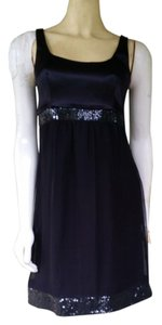 Maria Bianca Nero Sequin Silk Chiffon Babydoll Cicktail Dress