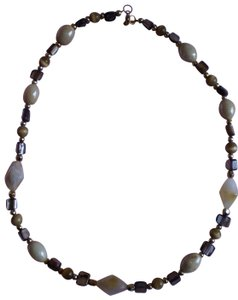 Other abalone, marbled & goldtone beads necklace