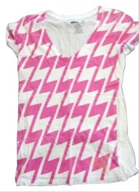 Billabong Fitted Cotton Lightning Bolts T Shirt White and Pink