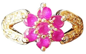 Other Lovely Dainty Natural Ruby Flower Rose Gold Plated Ring 6