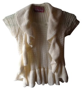 Sweet & Sinful Knit Off White Beige Ivory Cardigan Ruffles Short Layering Vest